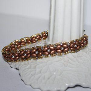 "Beautiful gold beaded bracelet 7"""